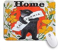 ZOMOY マウスパッド 個性的 おしゃれ 柔軟 かわいい ゴム製裏面 ゲーミングマウスパッド PC ノートパソコン オフィス用 デスクマット 滑り止め 耐久性が良い おもしろいパターン (秋のかわいい動物のクマカリフォルニアホームヴィンテージクロクマと花の素朴なプリント紅葉)
