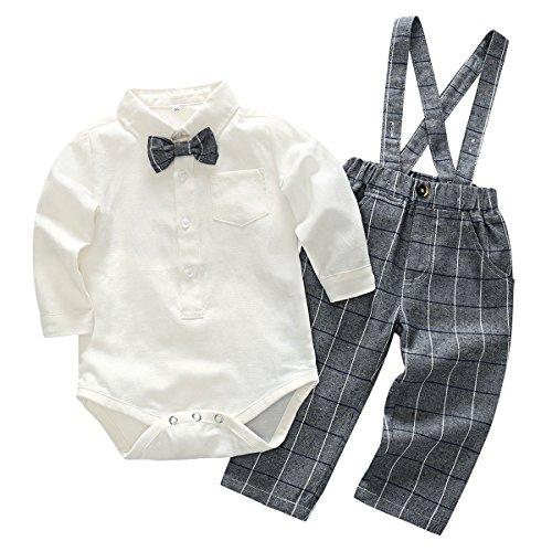Feoya Jungen Outfits Langarm Frühlinganzug Fliege Taufanzug Baby Baumwolle Hemd Hose Set Hochzeit Anzug 9-12 Monaten
