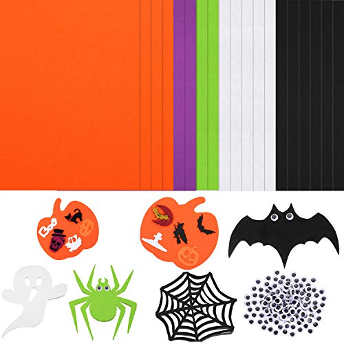 20 Pieces Halloween Foam Handicraft Sheets Assorted Color Craft Foam Sheet and 100 Pieces Wiggle Black Eye with Self Adhesive for Halloween Party DIY Crafts Supplies