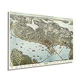 Historix Vintage 1891 Seattle Map Poster – 61 x 91 cm