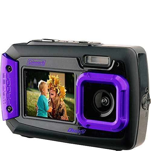 """Coleman Duo2 2V9WP Rugged Dual Screen Waterproof Camera, 20MP, 4x Digital Zoom, 2.7"""" Back/1.8"""" Front LCD, Waterproof to 10', Dust/Freeze Proof, Purple"""