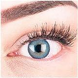 GLAMLENS lentillas de colores azules Mirel Blue + contenedor. 1 par (2 piezas) - 90 Días - Sin Graduación - 0.00 dioptrías - blandos - Lentes de contacto azul de hidrogel de silicona
