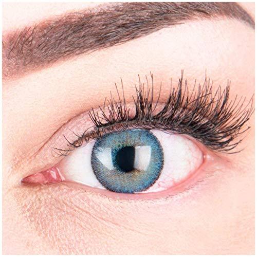 Glamlens lentilles de couleur bleu naturelles colorées très haute opacité Mirel Blue + étuis à lentilles de contact I 1 paire (2 pièces) I 90 Jours I sans correction I 0,00 Dioptries