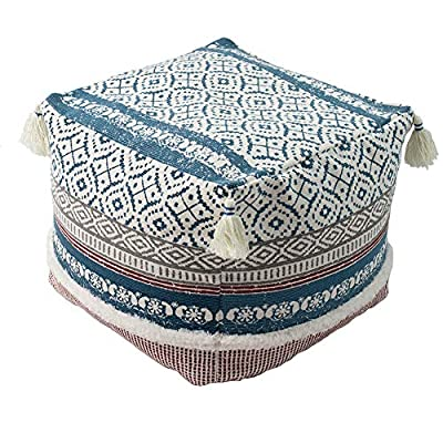 """Boho Tufted Decorative Unstuffed Pouf - Farmhouse Casual Ottoman Pouf Cover with Big Tassels, Handwoven Footrest/Cushion Cover ONLY for Bedroom Living Room, 18""""x18""""x16"""", Blue"""