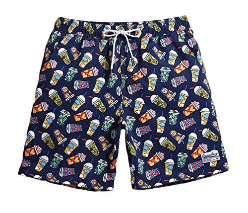 "WUAMBO Mens Swim Trunks Boardshorts Quick Dry Swimwear Bathing Suits Ice Cream Printed Short with Mesh Lining, Pocket/Large (Waist:31""-33"")"