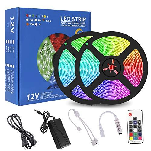 RC LED Strip Lights, 32.8ft RGB LED Strip Lights with Remote, 5050 12V LED Light Strip Color Changing LED Lights for Bedroom, Hotels, Clubs, Kitchen, Party, TV