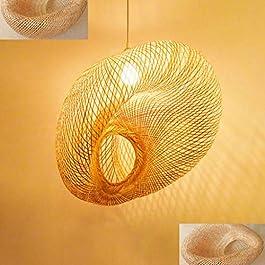 Lustre Main En Bambou En Osier De Rotin Vague Lampes Pendentif Luminaire Rustique Vintage Hauteur Lampe Suspendue…