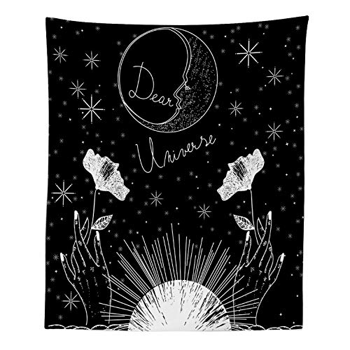 QQFENG Tapiz De Pared Patrón De Flor De Luna En Blanco Y Negro Tapiz Dormitorio Sala De Estar Dormitorio Decoración del Hogar 150X130cm A