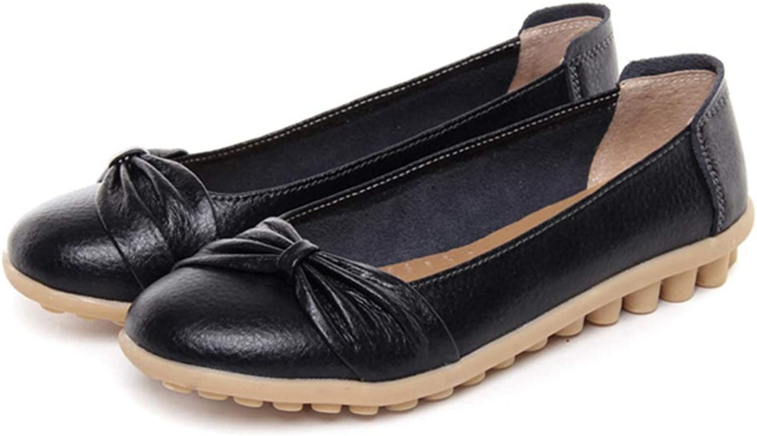 August Jim Women Loafers shoes,Cut Out Soft Leather Flats Walking shoes