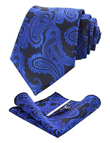 JEMYGINS Graziös Paisley Elegant Herren Krawatte und Einstecktuch mit krawattenklammer Sets (Blau2)
