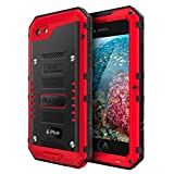 Beasyjoy iPhone 6 Plus Case iPhone 6s Plus Metal Case Heavy Duty with Screen Military Grade Dropproof Shockproof Waterpproof Rugged Protection Red