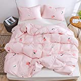Lurson Girls Blush Pink Duvet Cover Full Set Fruit Peach 100% Organic Cotton Teens Baby Pink Cute Sweet Peach Reversible Bedding Set Soft Breathable Natural Cotton Bedding Collection (3pcs,MT,F)