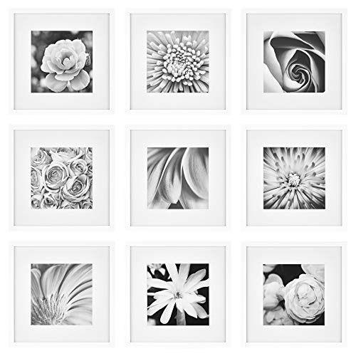 """Gallery Perfect Gallery Wall Kit Square Photos with Hanging Template Picture Frame Set, 12"""" x 12"""", White, 9 Piece"""