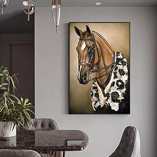 Pintura arte pared Pintura al óleo de animales salvajes de caballo marrón sobre lienzo carteles e impresiones escandinavos pintura cuadros artísticos de pared decoración para sala de estar-60x