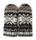 Warm Women Knit Mittens 100% Icelandic Wool Fleece Lined dark chocolate