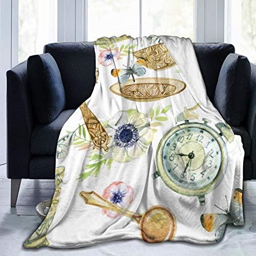 Nongmei Manta de Tiro Personalizada,Taza De Té De Acuarela con Cuchara Espejo Despertador Flores Y Mariposa Vajilla,Manta de Felpa Suave para sofá,Dormitorio,Viaje,Manta mullida 50'X60'
