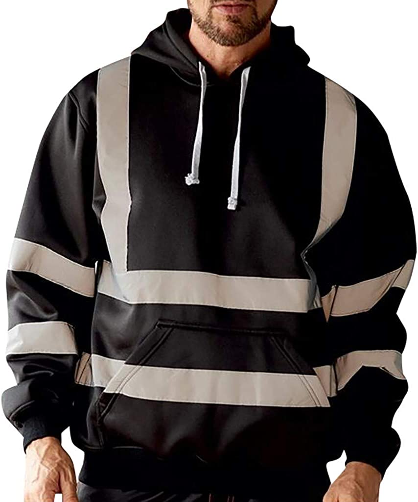 VEZAD Store Mens Visibility Hoodie Road Work High Pullover Reflective Strip Sweatshirt Coat
