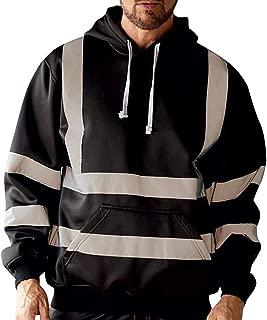 wuliLINL Mens High Vis Long Sleeve 2 Tone Hooded Hoodie