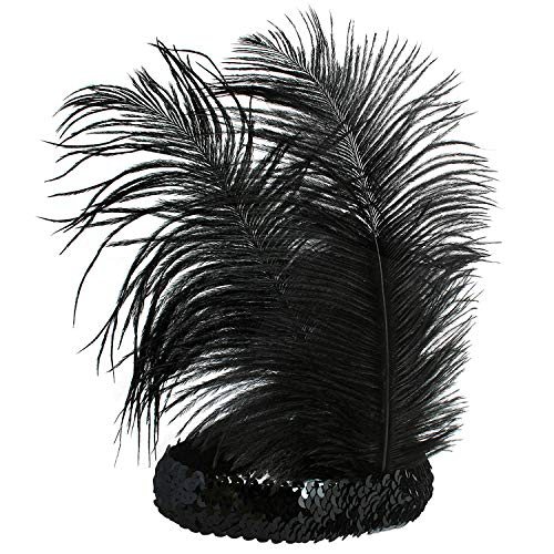 BABEYOND 1920s Stirnband Feder Flapper Stirnband Roaring 20er Showgirl Haarband Gatsby Stil Accessoires Damen Retro Stirnband - 2
