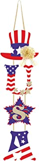 Unomor 4th of July Decorations - U.S.A Door Hanging Decoration with Pull Bow for Independence Day - Patriotic Decor