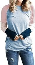 Rakkiss Womens Pullover Blouse, Ladies Casual Long Sleeve Tops Patchwork Tops Plus Size Loose Crew Neck Sweatshirt S-XXL