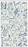 ABAKUHAUS Physik Schmaler Duschvorhang, Technische Formeln Notebook, Badezimmer Deko Set aus Stoff mit Haken, 120 x 180 cm, Ivory Indigo