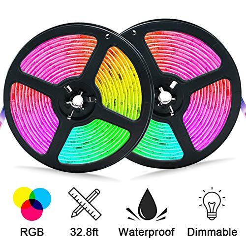 Led Strip Lights,32.8ft Waterproof Color Changing Tape Light, RGB SMD 5050 Dimmable Flexible Light Strips, Suitable for Bedroom, Kitchen, TV, Party and Indoor DIY Mood Lighting Lovers