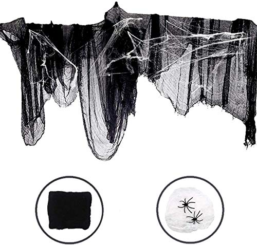 Tela decorativa para Halloween, color negro (2 m x 4 m) con tela de algodón blanca/arañas 3D, red de murciélago, decoración de fiesta para ventanas, pared, mesa, techo