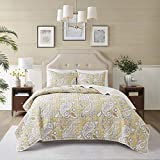 Comfort Spaces Reversible Quilt Set-Double Sided Vermicelli Stitching Design All Season, Lightweight, Coverlet Bedspread Bedding, Matching Shams, King/Cal King(104'x90'), Wheat 3 Piece