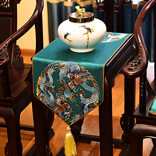 Geborduurde satijnen tafelloper met kwast, Chinese groene draak patroon kunst decoratieve lang, dik tafelkleed tafelloper voor home decor kantoor vergaderruimte hotel 35×180 cm (13.8×70.8 inch)