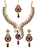 Touchstone Indian Bollywood White Rhinestone Blue Faux Sapphire deep red Faux Ruby and Faceted Glass Drops Ethnic Peacock Motif Bridal Designer Jewelry Necklace Set for Women in Antique Gold Tone