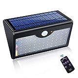 XMAGG Luz Solar de Exterior, Lámpara Solar de 3-8M Detección, 1300 Lumens 60 LED Focos Solares, 5000mAh y 3 Modos Inteligentes para jardín Cerca Patio Garaje