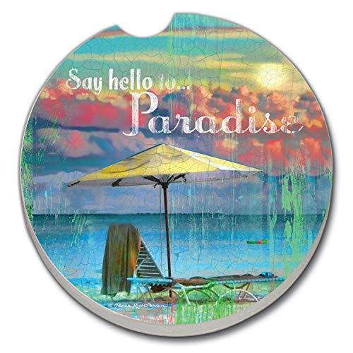 Say Hello to Paradise Tropical AbsorbaStone Auto Car Coaster (1)