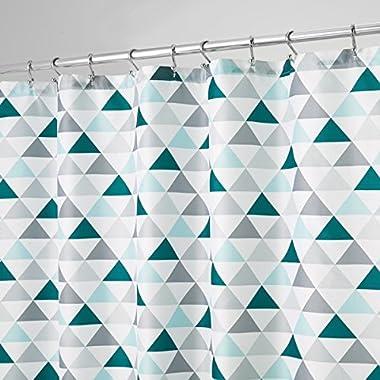 mDesign Triangles Soft Fabric Shower Curtain - 72  x 72 , Deep Sea/Mint Green