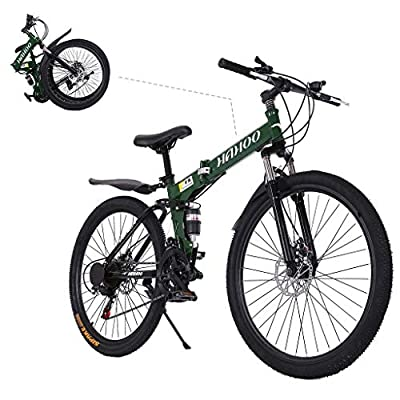 TOUNTLETS 26 Inch Full Suspension Mountain Bike Road Bike City Commuter Bicycle with 21 Speeds Dual Disc Brakes Folding Bike Non-Slip Bike City Riding ??Bicycle for Mens/Womens (Green)