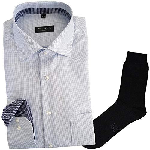 Hemd ETERNA Comfort fit Classic Kent, Twill Struktur + 1 Paar hochwertige Socken, Bundle, Größe:47