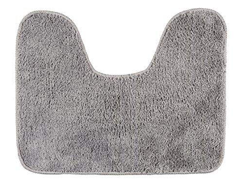 WENKO Tapis de contour WC gris - Tapis de bain, Antidérapant, contour WC, Polyester, 40 x 50 cm, Gris