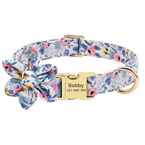 Didog Collar de perro para niña con patrón floral, collares grabados para mascotas con hebilla de metal de liberación rápida y placa de identificación personalizada, azul, talla L