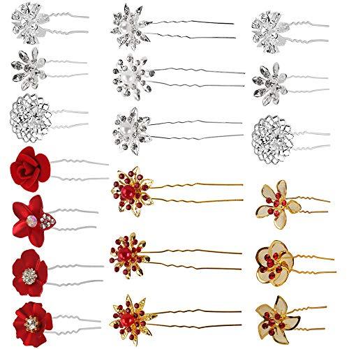Haarspelden voor bruid, 16 stuks, rozen, haarspelden voor bruidskapsels, U-vormige haaraccessoires voor vrouwen, bruiloft, bruid, party