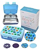 Stainless Steel Toddler Lunch Box for Daycare, Insulated Bento for Kids Toddlers Boys Baby, 3 Eco Metal Portion Sections Leakproof Lid, Pre-School Lunches Snack Container Kid Ages 3 to 5 Blue Monster