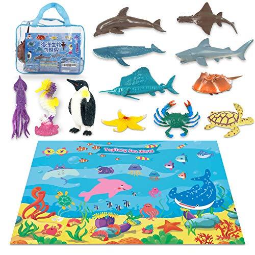 Tagitary 海洋動物おもちゃ フィギュア 12種類セット マリンライフ リアル海洋生物 マニアル マップ、 収納バッグ付き 子供用おもちゃ 誕生日プレゼント 定番玩具 収納便利 水族館 コレクション 保育園教具