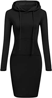 TOPUNDER Pullover Pocket Knee Length Slim Hoodie Dresses Casual Sweatshirt Dress Women