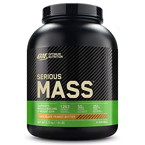 Optimum Nutrition ON Serious Mass Hochkalorisches Weight Gainer Protein Pulver, Whey Protein, Vitamine, Kreatin und Glutamin, Chocolate Peanut Butter, 8 Portionen, 2.73kg, Verpackung kann Variieren