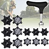 30PCS Easy to Change Studs, Universal Anti Skid Golf Shoes, Golf Cleats Shoes Spikes Stinger Metal Thread Screw Studs, with Golf Spike Wrench Two Pin Shoes Remover Tool Replacement Aid