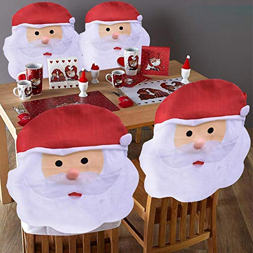 BAKAJI Set 4 x Coprisedia Natalizi Forma Babbo Natale Decorazione Natalizia Copri Schienale Sedia Sala da Pranzo Natalizio Dimensione 50 x 60 cm in Tessuto Feltro Addobi Natalizi Casa