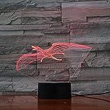 Lámpara 3d Sensor táctil Jurassic Park The Dinosaur Pterosaurs Color Changing Awesome Decoration Led Night Light Lamp para niños