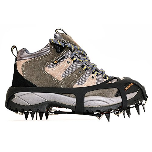 ValueHall Crampones universales 18 dientes acero hielo Grips antideslizante nieve y hielo tracción tacos zapato cadenas seguro protegen zapatos (L)
