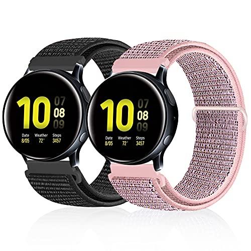 Runostrich Quick Release 20mm Armbands Nylonschlaufe Kompatibel mit Galaxy Watch 3 41mm/Samsung Galaxy Watch 42mm/Active2 44mm 40mm/Gear Sport Ersatz Sport Armbänder Herren Damen