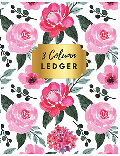 3 Column Ledger: Pretty Pink Floral 3 Column Ledger Book : Accounting Ledger Notebook for Small Business, Bookkeeping Ledger, Account Book, Accounting ... Expense Accounting Ledger Notebook, Band 4)