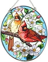 Amia Hand Painted Glass Suncatcher with Orchard Cardinal Design, 5-1/4-Inch by 7-Inch Oval